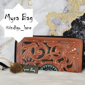 """Myra """"Bellezza"""" Hand Tooled Leather Wallet"""
